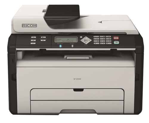 Máy in Ricoh SP203SF, In, Scan, Copy, Fax, Laser trắng đen