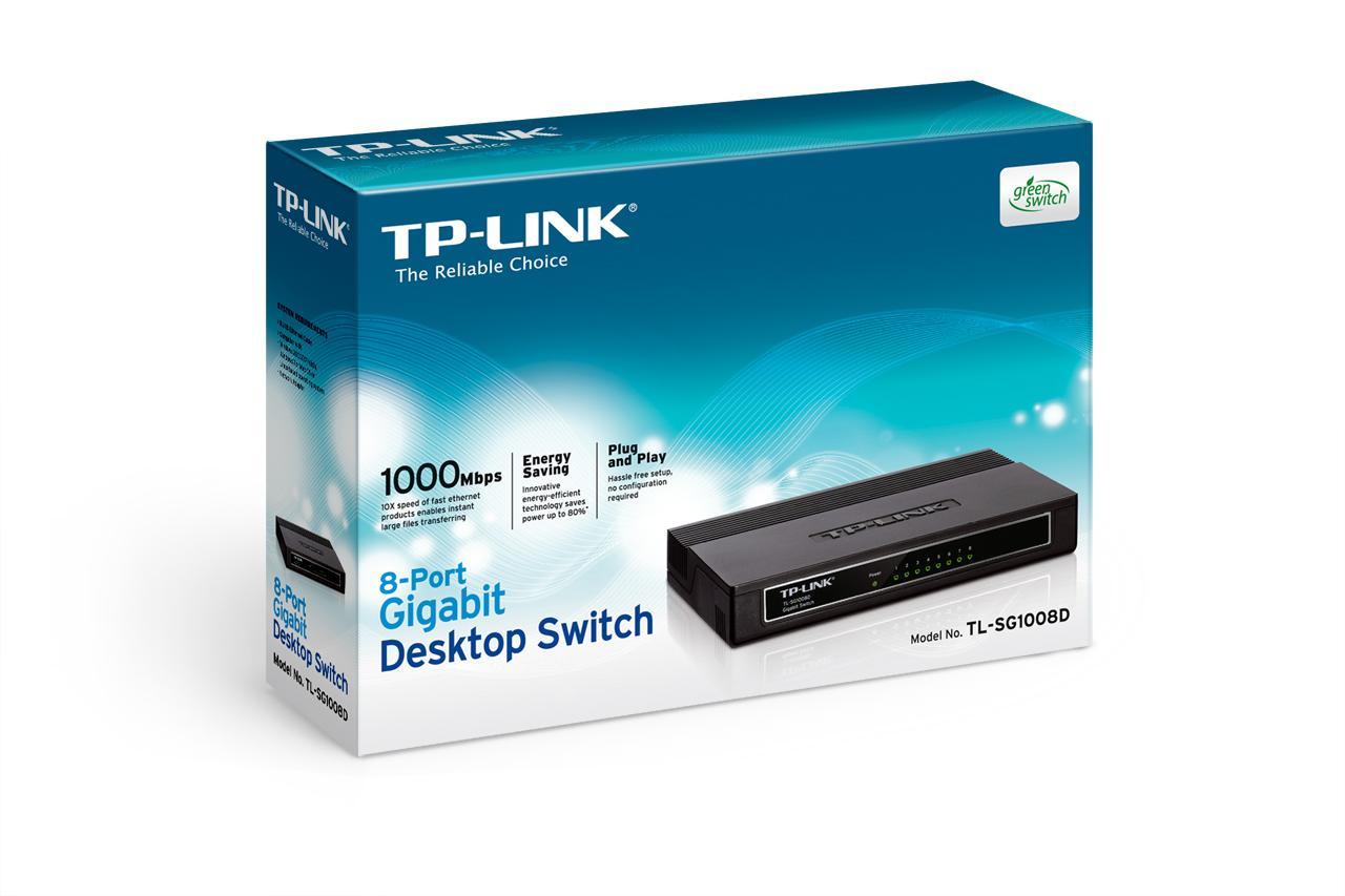 Switch TP-Link TL-SG1008D, Loại để bàn 8 cổng tốc độ Gigabit